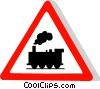 EU traffic sign, train crossing Vector Clipart illustration