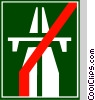 EU traffic sign, end of motorway Vector Clip Art image