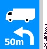EU traffic sign, diversion for lorries Vector Clip Art graphic