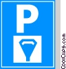 EU traffic sign, parking with meters Vector Clipart picture