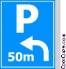 EU traffic sign, distance and direction of parking Vector Clip Art graphic