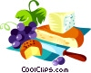 EU European cuisine French cheese and grapes Vector Clip Art picture