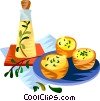 EU European cuisine miniature quiche with herbs Vector Clipart illustration