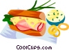 EU European cuisine sandwich with French ham Vector Clip Art picture