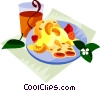 EU European cuisine cr�pes with vanilla syrup Vector Clipart image