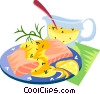 EU European cuisine salmon fillet sauce b�arnaise Vector Clipart illustration
