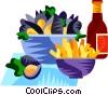 EU European cuisine moules frites Vector Clip Art picture