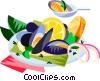 EU European cuisine mussels Vector Clip Art picture
