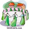 Religious Holidays Korea Ch'usok round dance Vector Clipart illustration