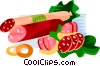 EU European cuisine different sausages - salsiccia Vector Clipart illustration