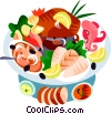 EU European cuisine sea food platter Vector Clipart illustration