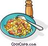 Russian cuisine macaroni - krevetki Vector Clip Art picture