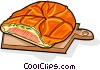 Vector Clip Art graphic  of a Russian cuisine pierogi with