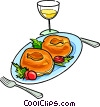 Vector Clipart picture  of a Russian cuisine pierogi with