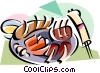Vector Clipart image  of a Korean cuisine Shinsolo BBQ