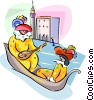 Vector Clip Art image  of a couple in gondola