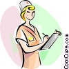 Vector Clip Art image  of a Nurse with clipboard