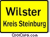German road sign, start of city Vector Clipart image