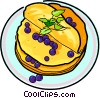 Russian pancakes with blackberries Vector Clipart illustration