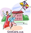 Korean kite flying Vector Clipart graphic