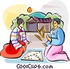 Vector Clipart illustration  of a Korean game of yut