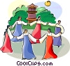 Vector Clip Art picture  of a Ch'usok - Korean round dance