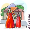 Vector Clipart image  of a Traditional Korean costume