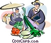Vector Clip Art image  of a Chinese food market