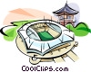 Vector Clip Art graphic  of a Korea Olympic stadium
