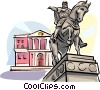 Vector Clip Art graphic  of a Moscow monument to Yuri