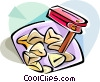 Hebrew Purim rattle and hamantaschen Vector Clipart image