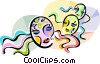 Vector Clip Art graphic  of a Hebrew Purim masks