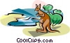 Australian Lake Eyre with Kangaroo Vector Clipart illustration
