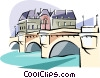 Vector Clip Art graphic  of a Paris Pont Neuf bridge over
