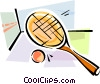 Vector Clipart graphic  of a Squash racket and ball