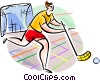 Innebandy player Vector Clipart illustration