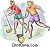 Vector Clip Art image  of a Innebandy players