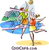 Vector Clipart illustration  of a Brazilian beach volleyball
