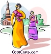 Thai people in traditional costume Vector Clipart graphic