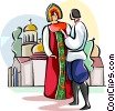 Vector Clip Art image  of a Russian national costumes