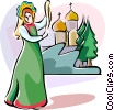 Russian national costumes Vector Clip Art picture