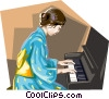 Asian child playing the piano Vector Clip Art graphic