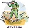 Vector Clip Art image  of a WW1 soldier with weapon