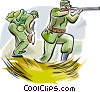 WW1 soldiers with weapons Vector Clip Art picture