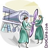 women working in WWII Vector Clipart image