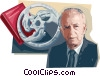 Vector Clip Art graphic  of a Yitzhak Rabin