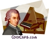 Vector Clipart illustration  of a Wolfgang Amadeus Mozart