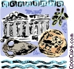 Greek Parthenon with antique vase and artifacts Vector Clipart picture