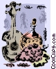 Vector Clip Art graphic  of a Portuguese wine with a guitar