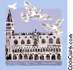 Vector Clipart graphic  of a Palazzo Ducale overlooking Canal